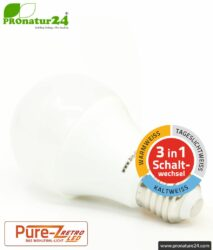 9 watts LED TRICOLOR Pure-Z-Retro | 3in1 switchable BIO light (warm white, cool white and daylight white). Bright as 80 Watt. 800-850 Lumen. E27 socket.