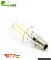 3 watts LED filament Candle Pure-Z-Retro BIO LIGHT | bright as 30 watts, 300 lumen | warm white (2700 Kelvin) | CRI >90, flicker-free (< 1%), E14