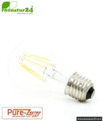 6.4 watts LED Filament Pure-Z-Retro BIO LIGHT | bright as 60 watts, 600 lumen | warm white (2700 Kelvin) | CRI >90, flicker-free (< 1%), E27