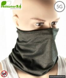 ANTIWAVE shielding hose scarf Buff | black | Protection against electrosmog HF with efficiency >99,9% (cell phone, WIFI, LTE) | suitable as mouth-nose protection mask | shielding fabric with silver for antibacterial effect (silver ion treatment) | 5G ready!