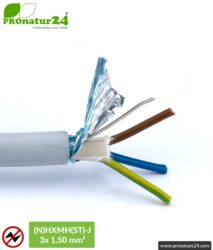 (N)HXMH(St)-J | 3x 1.5 mm² shielded electric cable sheathed cable | Halogen free | Plasticizer-free | Laying cable to protect against electric fields LF | 25 and 100 meters length