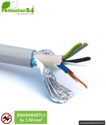(N)HXMH(St)-J   5x 1.5 mm² shielded electric cable sheathed cable   Halogen free   Plasticizer-free   Laying cable to protect against electric fields LF   25 and 100 meters length