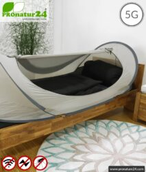 Pop up shielding tent SAFECAVE for single bed | throw up tent with 99.99% RF shielding effect (42 dB) | mobile electrosmog canopy | groundable