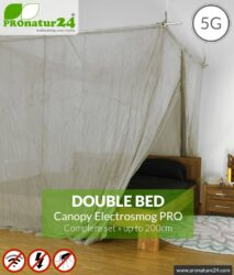 Shielding canopy Electrosmog PRO | 99.999% screening attentuation against WIFI, RF radiation (HF shielding up to 50dB) | groundable | effective against 5G! Double bed. Set.