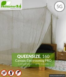 Shielding canopy Electrosmog PRO | 99.999% screening attentuation against WIFI, RF radiation (HF shielding up to 50dB) | groundable | effective against 5G! Queensize 160. Set.