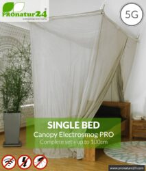 Shielding canopy Electrosmog PRO | 99.999% screening attentuation against WIFI, RF radiation (HF shielding up to 50dB) | groundable | effective against 5G! Single bed. Set.