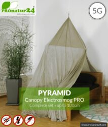 Shielding canopy Electrosmog PRO | 99.999% screening attentuation against WIFI, RF radiation (HF shielding up to 50dB) | groundable | effective against 5G! Pyramid. Set.