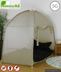 Shielding tent SAFECAVE for single bed   > 99.99 % efficiency (screening attentuation up to 47 dB)   Mobile full protection against electrosmog canopy   LF groundable