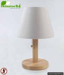 Shielded table lamp made of beech wood with lampshade in NATURAL color | made of chintz, a linen weave cotton fabric | 31 cm high. E27 socket. 40 watts.