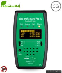 Safe and Sound Pro 2 EMF Detector | Broadband RF Radiation Meter | Detection of RF radiation from 200 MHz to 8 GHz, including 5G. Semi-professional level for beginners.